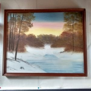 VINTAGE WOOD FRAMED HAND PAINTED PICTURE